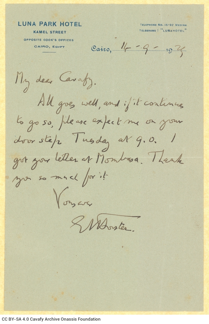 Hotel Pen-pals: An E. M. Forster Letter to C. P. Cavafy